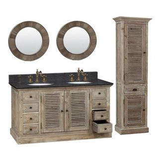 60-inch Marble Top Double Sink Rustic Bathroom Vanity with ...