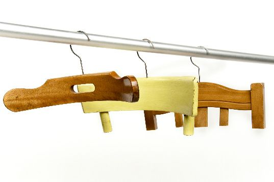 White as a Polar Bear: Chair backs repurposed into coat hangers