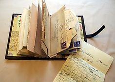 einge gute Idee um Briefe &Postkarten zu sammeln!! binding letters into books