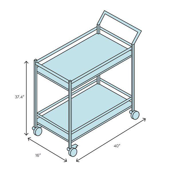 Pete Metal Framed Bar Cart Acrylic Bar Cart Stemware Storage Bar Cart