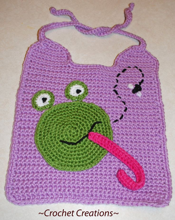 Crochet Creative Creations- Free Patterns and Instructions: frog bib