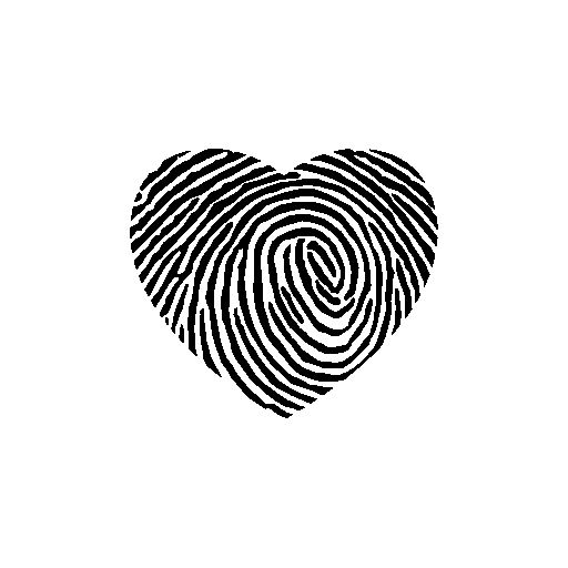 Fingerprint heart shape free icon