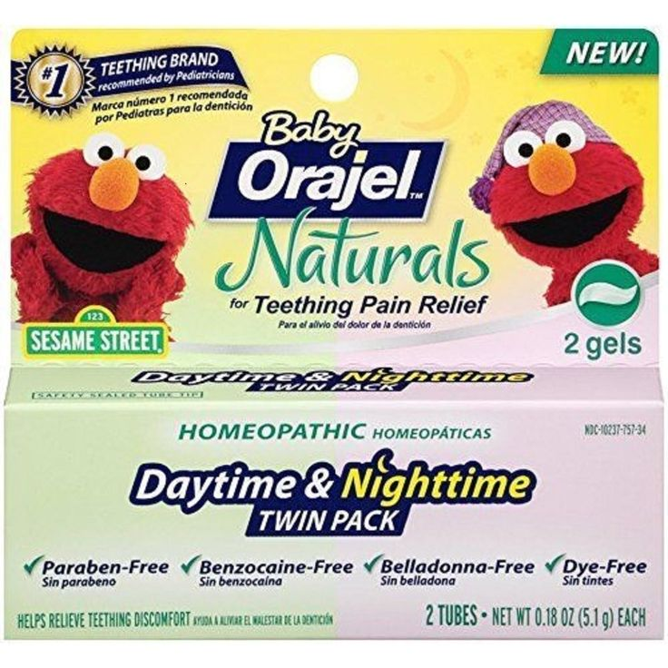 Orajel Baby Naturals D Twin Pack Daytime and time Teething Gel