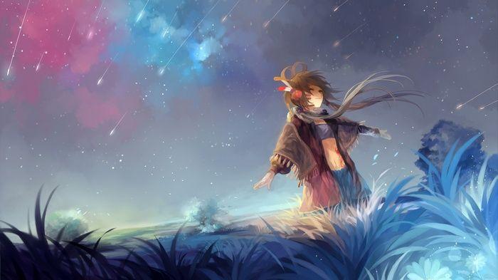 Vocaloid Long Hair Sky Digital Art Happy Face Nature