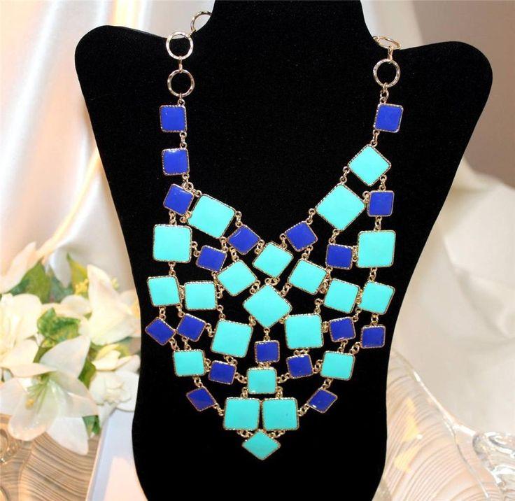 AMRITA SINGH Signed Turquoise Lapis Enamelled Bib Necklace- NWT