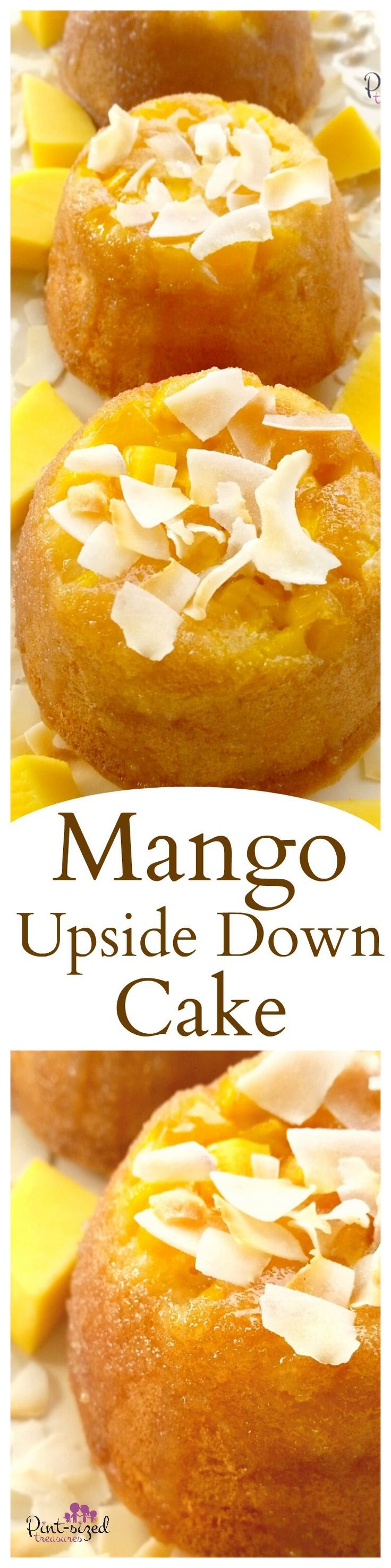 Gorgeous mango upside down cakes are topped with a homemade syrup that adds an additional touch of sweetness to this super-moist, rich, fruity cake. And don't forget the toasted coconuts that are sprinkled throughout the cake and on top! Enjoy this super-