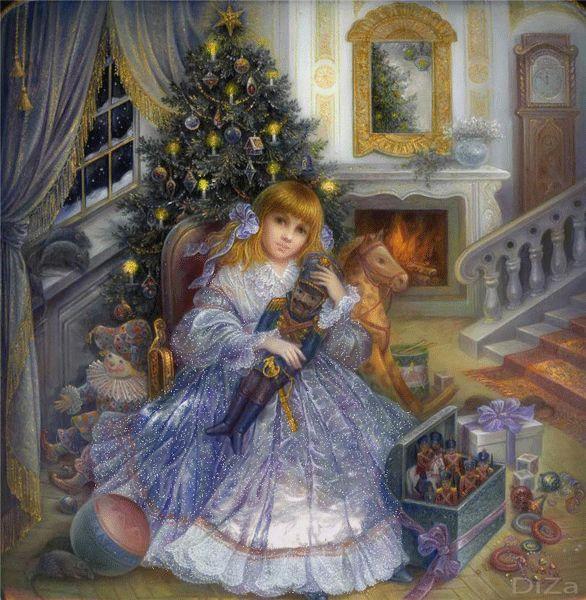 Новый год, картинка Девочка сидит возле елки и держит игрушку