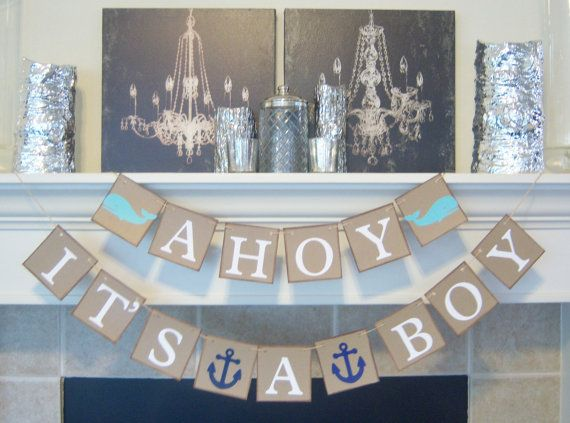 ahoy itu0027s a boy baby shower banner nautical theme baby shower whales baby shower decorations nursery decoration baby room photo prop