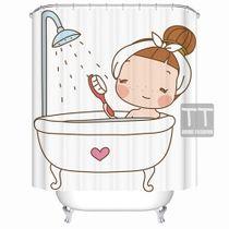 TT-grade moule créatif salle de bain imperméable rideau de douche polyester coupé douche personnalisée