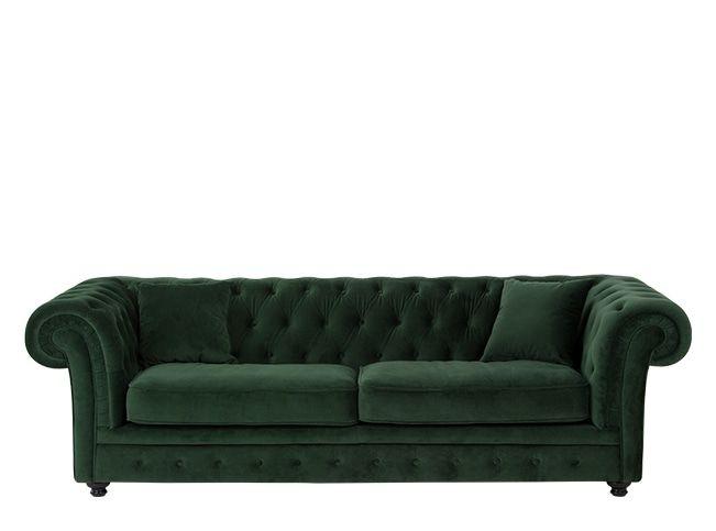 Branagh 3 Seater Chesterfield Sofa, Pine Green Velvet