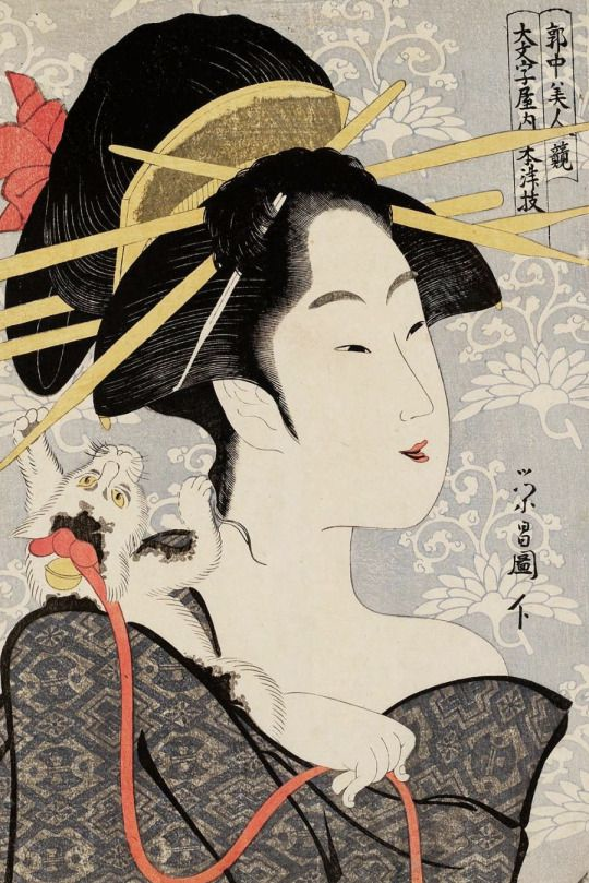 Motozue of the Daimonjiya, from the series Contest of Beauties of the Pleasure Quarters.  Woodblock print, 1795, Japan, by artist Chokosai Eisho