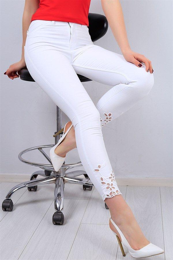 34 95 Tl Beyaz Paca Detayli Likrali Kot Pantolon 12736b Modamizbir Pantolon Kotlar Beyaz Kotlar