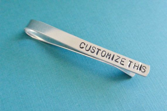Customized Hand Stamped Tie Bar Clip Aluminum Personalized Gift for Him Father's Day Birthday Wedding Quote Phrase Initials