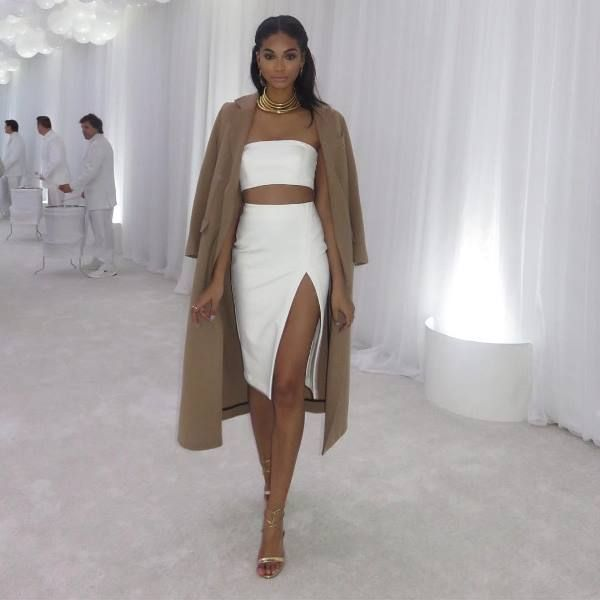 Look for Less: Chanel Iman's Instagram Balmain x H&M Gold Coil Necklace, Vatanika White Bandeau, High Wait Slit Pencil Skirt, and Gianvito Rossi Gold Strappy Sandals