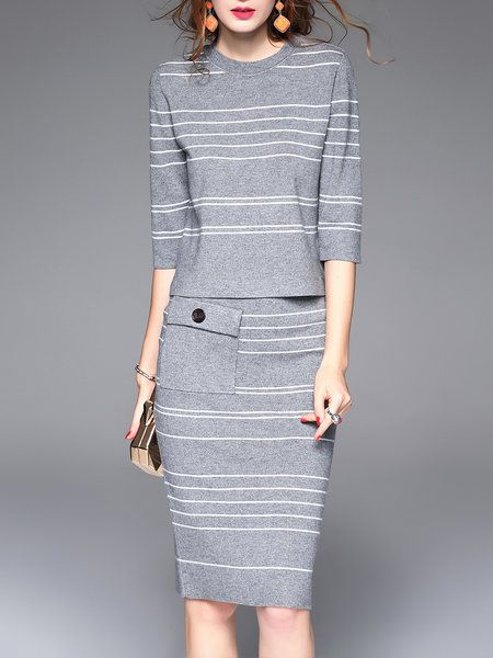 Shop Midi Dresses - Pockets Two Piece Stripes Formal 3/4 Sleeve Midi Dress online. Discover unique designers fashion at StyleWe.com.