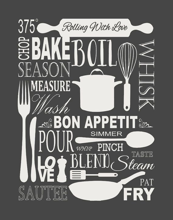 Vintage Kitchen Poster Kitchen Poster Kitchen Print by Woofworld