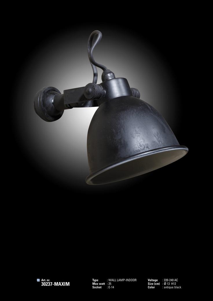 Wandlampje Vintage Black T.b.v. Home Office Kast