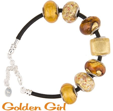 Authentic Murano Glass with .925 Sterling Insert Rhodium plated on a 7 Inch Leather Bracelet with a 1 1/2 Inch Extender. One side screws off to add more beads. Bright rich topaz colors of Tuscany to show off your summer tan. This is a complete bracelet with all parts included. Delivery on this item is 7 to 10 days.