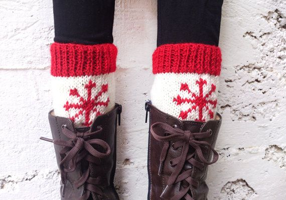 Knit boot cuffs with snowflake pattern  Christmas by GuruMIme