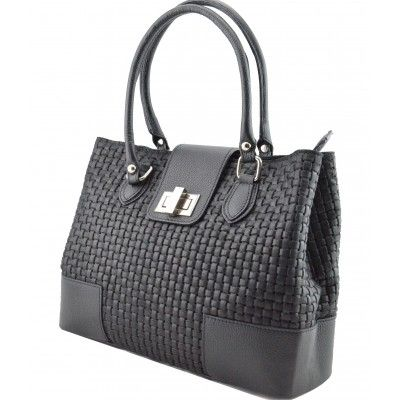 Italian Made, Genuine Leather Handbag - Sandra Black Sky