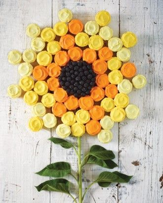 Sunflower Cupcake Cake. Colorful cupcakes arranged in the shape of a sunflower around a small blackberry-topped cake