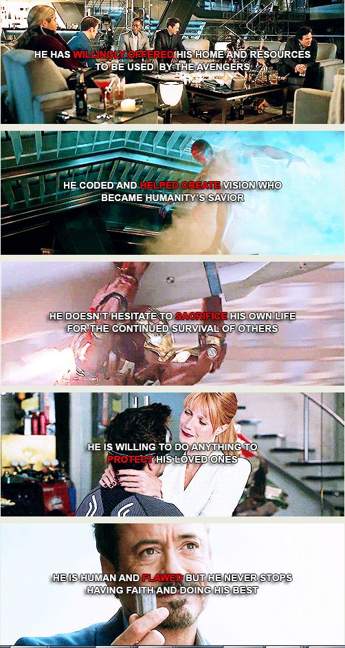 Reasons 6-10 out of infinite reasons to love Tony Stark.