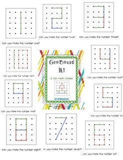 Geoboard activities. Free play on the geoboards is fun enough, but here is a website with links to different activities that are possible with the use of geoboards. I like how the rubber bands can be used to make different numbers, letters, and pictures...not just shapes.