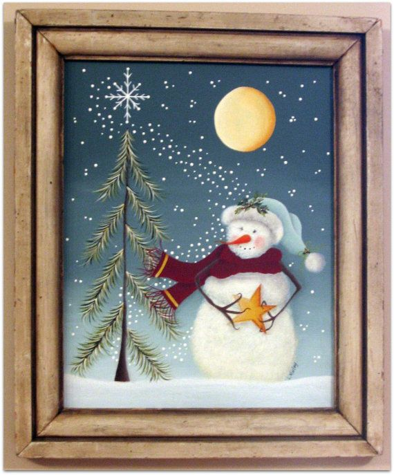 ♥ Crazy sweet snowman painting pattern.. complete with star and moon ♥ Can easily be adapted to other surfaces ♥ Full instructions for acrylic painting, complete with several pictures Come Wish Upon a Star under the fullness of the moon.. and cast your wish... winter is for making wishes come true! This is painted on a canvas board but can easily be painted on many surfaces.