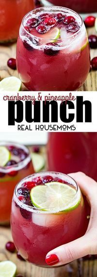 Cranberry Pineapple Punch is my new go to party cocktail. It can be made with or without alcohol and it's perfect for holiday parties! via /realhousemoms/ #ad