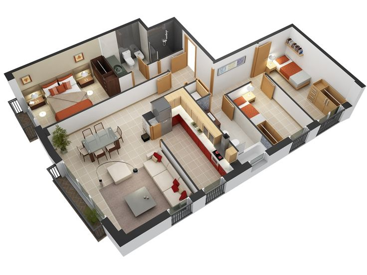 3 bedroom design in 3d small house floor plans for Small 3 bedroom house plans