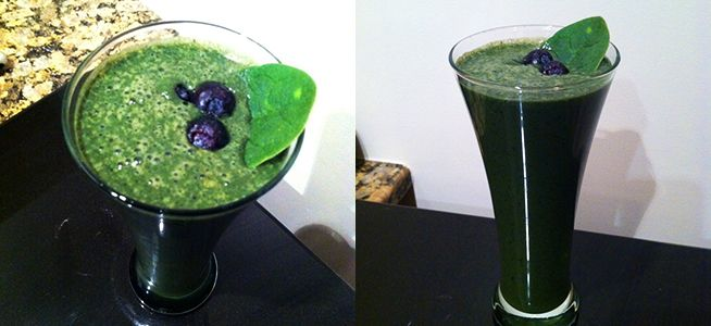 Green Berry Bliss Smoothie (Blueberries, Spinach, Banana)