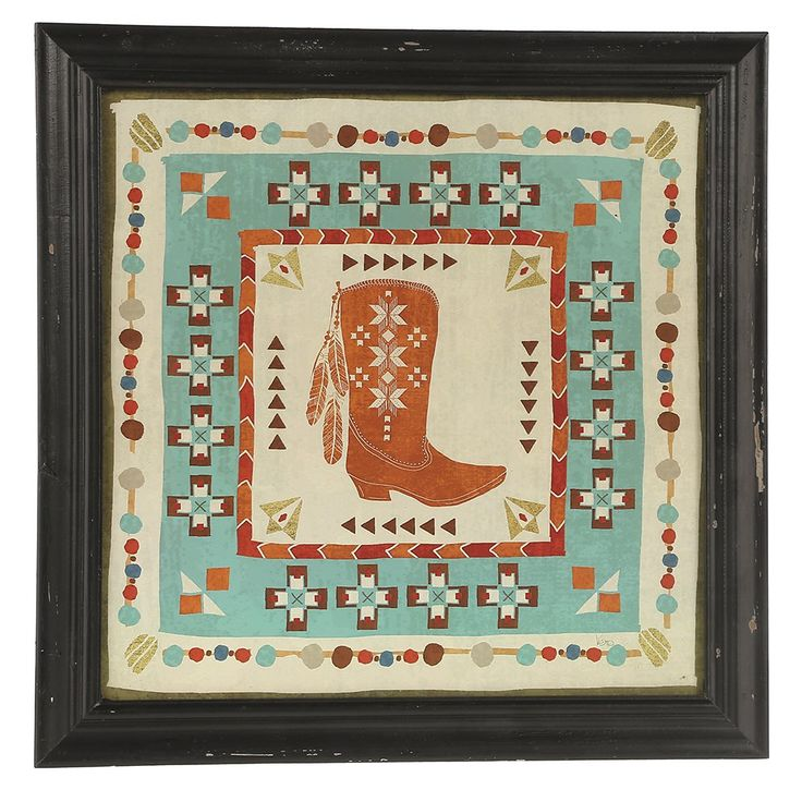 Turquoise Rust Aztec Boot Wall Decor