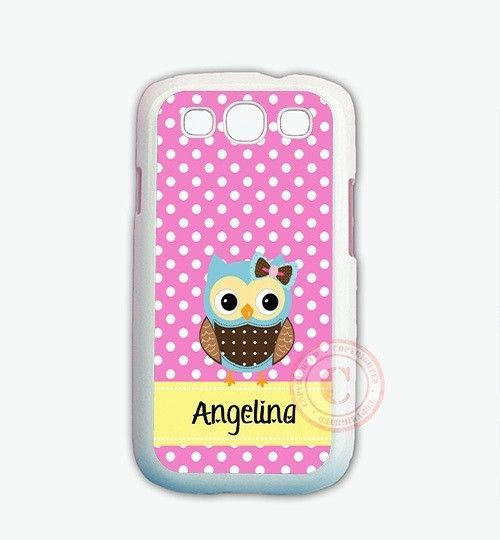 Personalized Pink Polka Dots Blue Owl PHONE Case For Samsung GALAXY S7 S6 NOTE 5 #UnbrandedGeneric