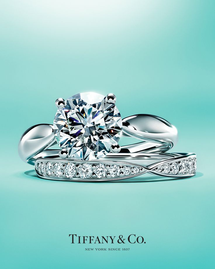 Tiffany Harmony® engagement ring and band ring in platinum.