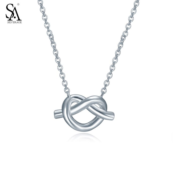 ==> [Free Shipping] Buy Best SA SILVERAGE Real 925 Sterling Silver Necklaces Simple Knot Chain necklace for women jewelery costume corrente masculina Online with LOWEST Price | 32806129538