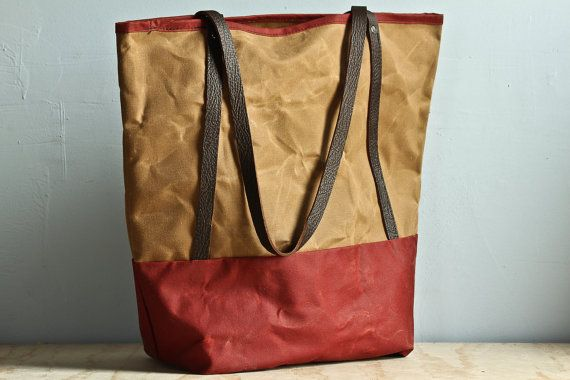 Sage & Tabasco Waxed Canvas Tote by ValentichBags on Etsy, $89.00
