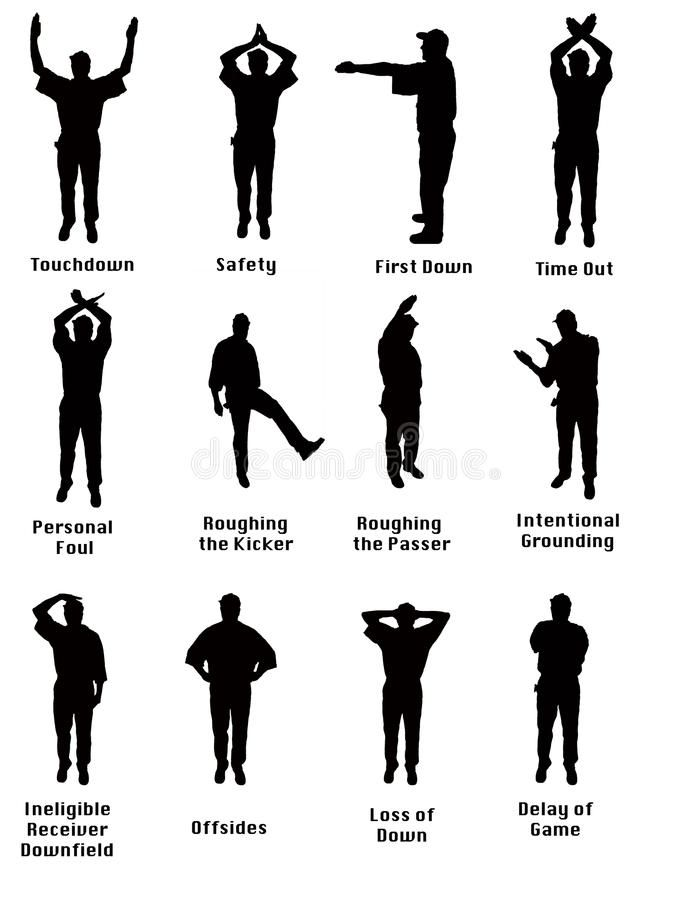 Silhouette Of Football Signals Silhouette Of An Nfl Referee Signalling Common A Ad Nfl Referee Signals Sil Football Referee Football Football Coach