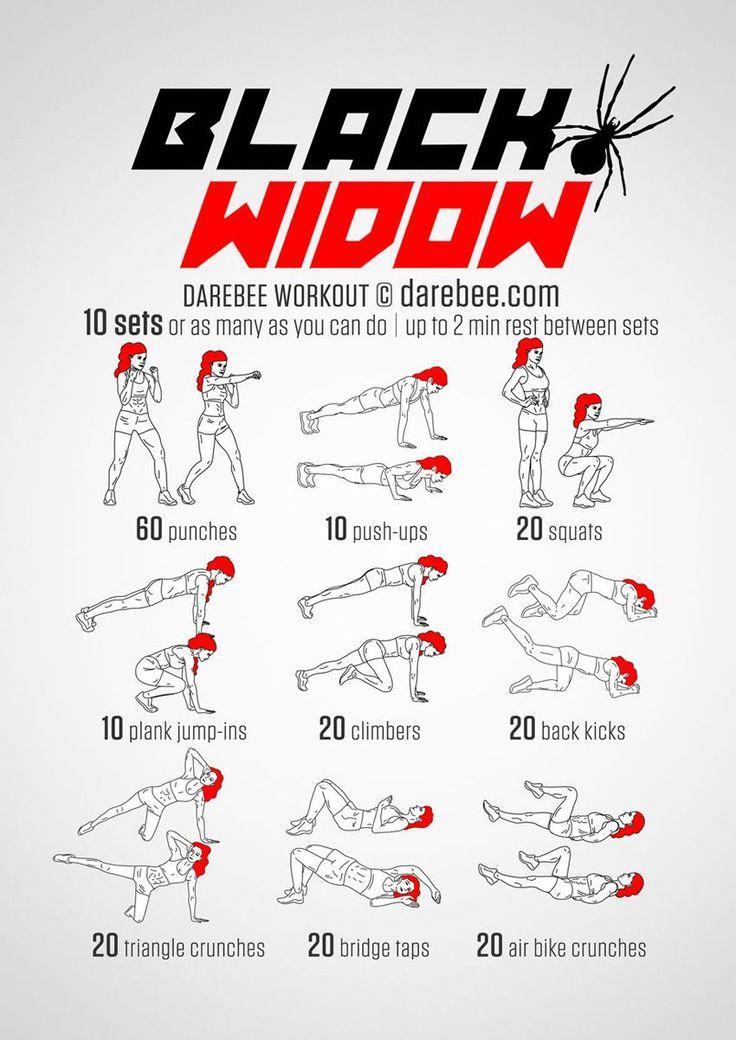 Workout für zu Hause: Fit wie Geheimagentin Black Widow aus Avengers: Der Black Widow Workout-Plan für zu Hause trainiert die Schultern, Trizeps, Brustmuskulatur, Quadrizeps, untere und seitliche Bauchmuskeln, Pobacken, Hüfte