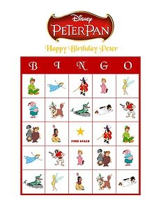 Personalized Disney Peter Pan Birthday Party Bingo Cards Game Delivered by Email