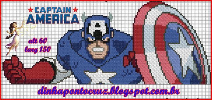Capitão América by Dinha ponto cruz