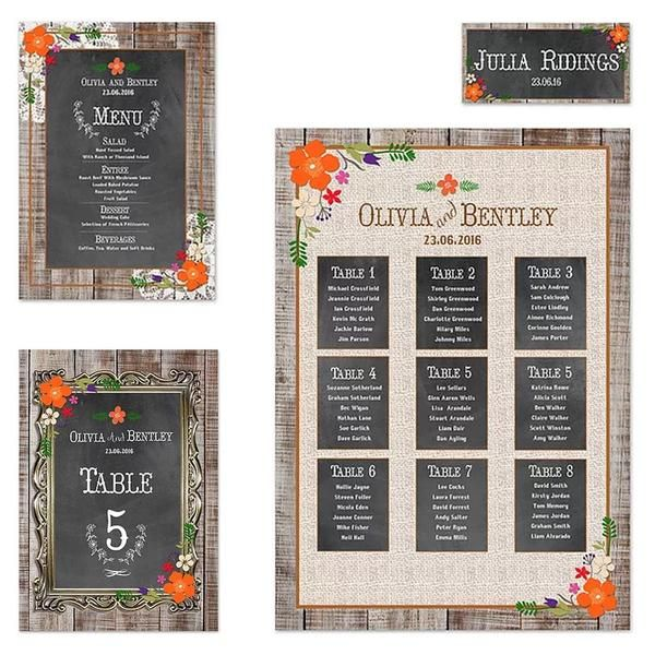 Barn Dance – On the Day Stationery. Table plan number menu. Hipster wooden floorboards blackboard chalkboard vintage, brown craft, boho. Personalised. Matching wedding stationery available.