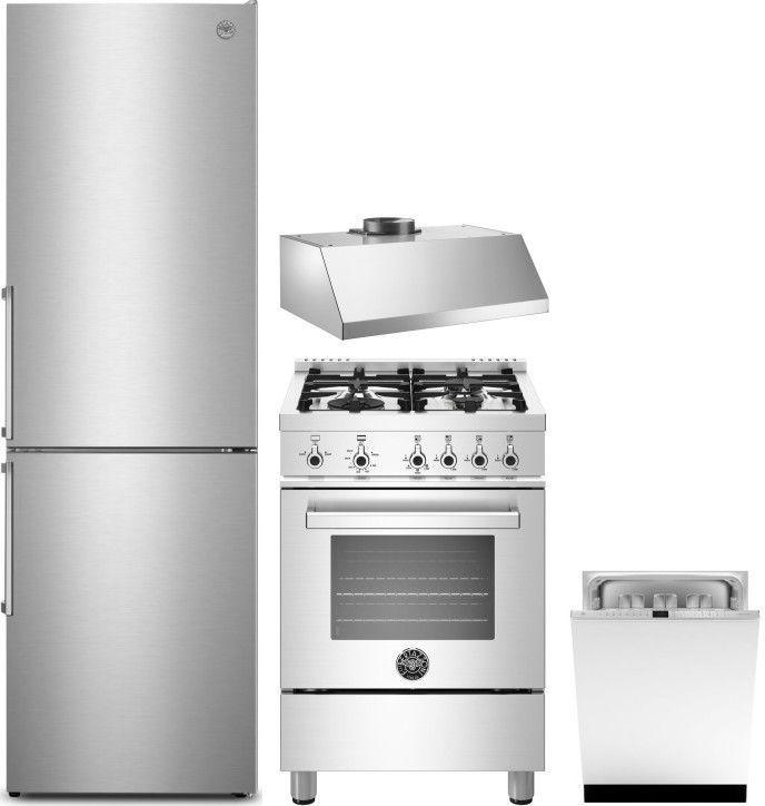 Bertazzoni Bereradwrh505 5 Teiliges Kuchengeratepaket Mit Tiefkuhlschrank Gasherd Und Geschirrspu In 2020 Kitchen Appliances Kitchen Appliance Packages Bottom Freezer