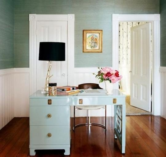 Home Office Mint and White