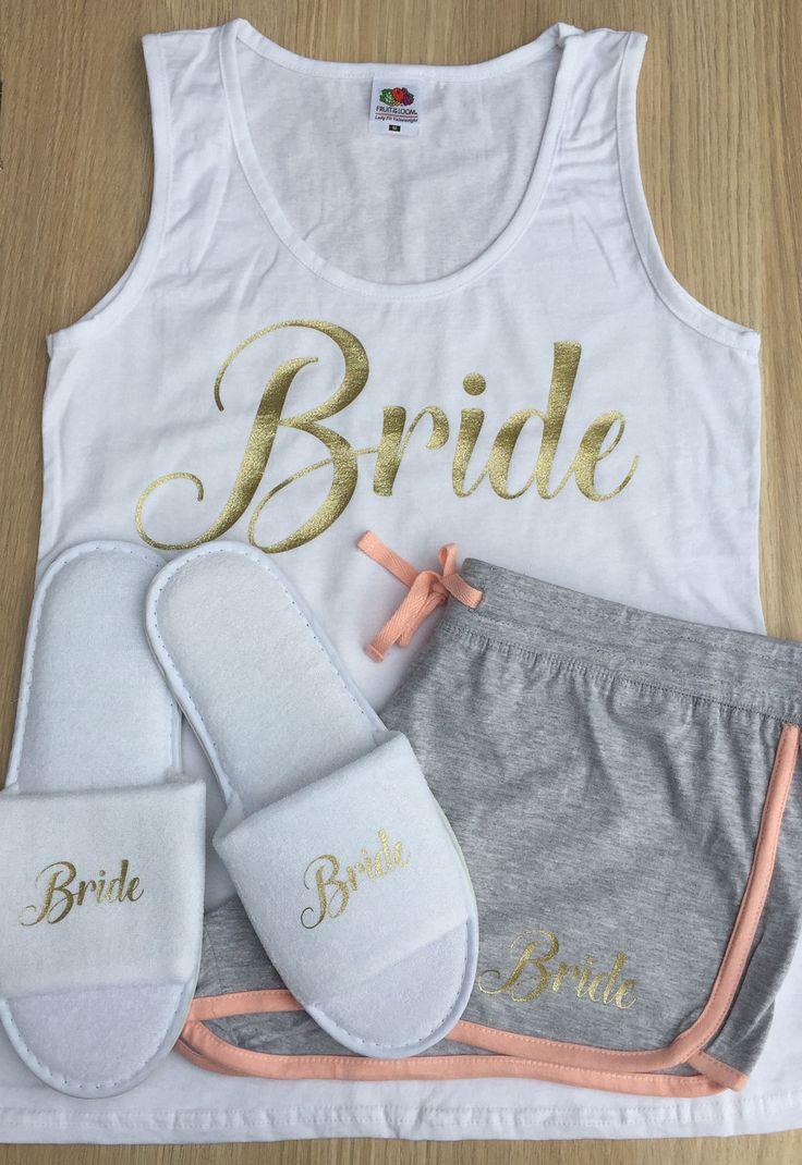 Personalised Bridal Party Pyjama, slippers, Bride to Be, Bridesmaid, bachelorette, Hen Party, Tank Top, T-Shrit, Shorts, pjys, pyjamas by personaliseddiamante on Etsy