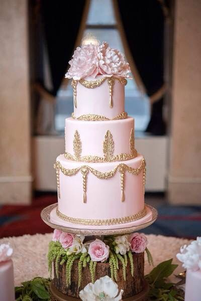 Pink and Gold Baroque Wedding Cake!