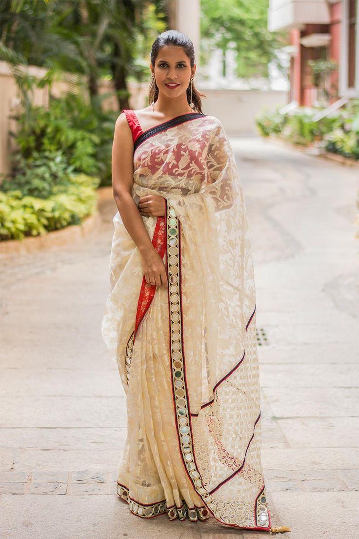 Off-white banaras organza saree wt mirror work border and lace pallu #saree #houseofblouse