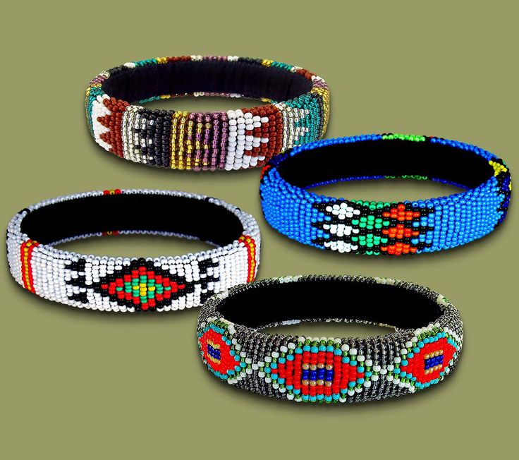 Beaded bangles are made from pure beads. They are beautiful ornaments handmade by rural South African women.