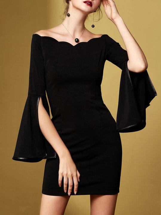d83a5dbf77 Off Shoulder Black Sheath Bell Sleeve Cotton-blend Elegant Binding Solid  Mini Dress
