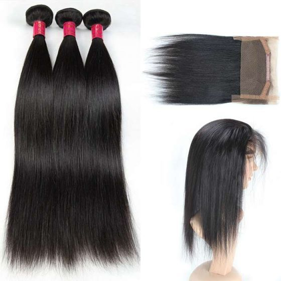 8A Brazilian virgin	straight  hair	 3bundles	with 360 lace frontal natural black $73.95