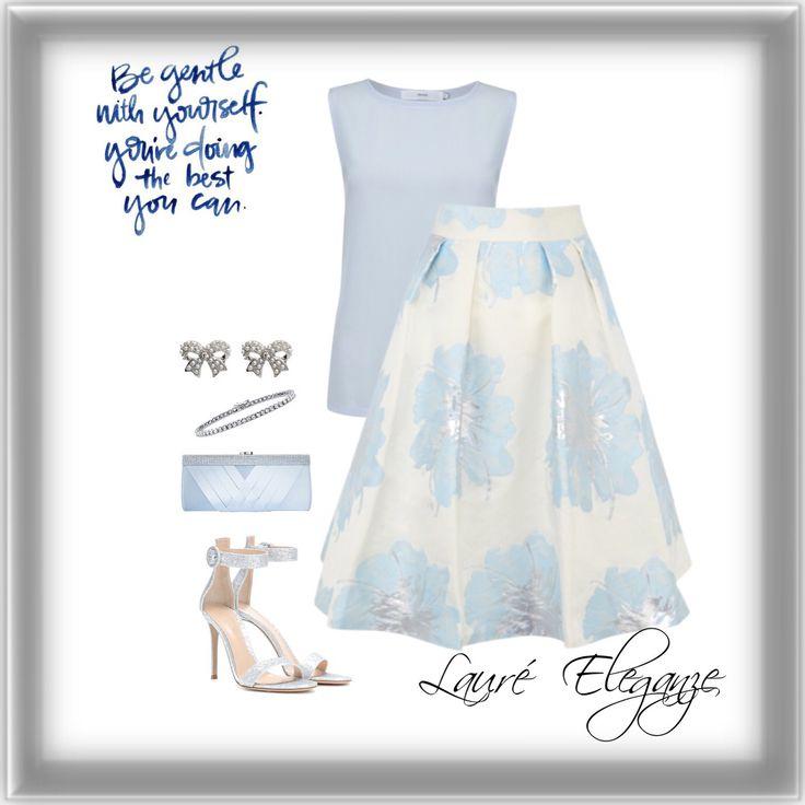 Pastel Blue & Floral Midi Skirt - Fashion inspiration